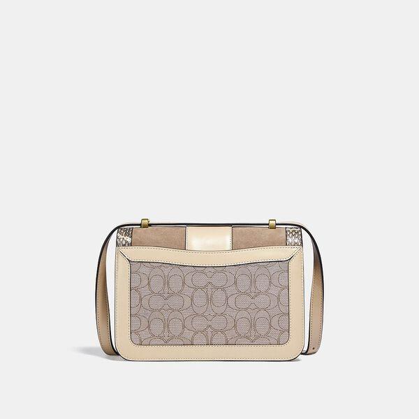Alie Shoulder Bag In Signature Jacquard With Snakeskin Detail, B4/STONE IVORY, hi-res
