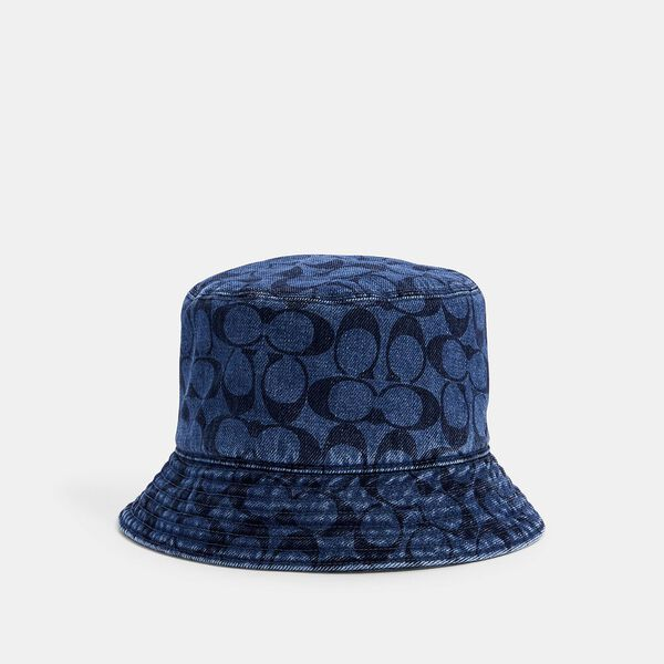 Signature Denim Bucket Hat, BLUE, hi-res