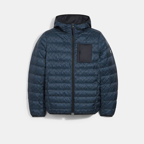 Packable Hooded Down Jacket, NAVY SIGNATURE, hi-res