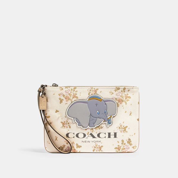 Disney X Coach Gallery Pouch With Rose Bouquet Print And Dumbo
