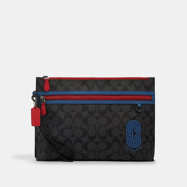 Carryall Pouch In Colorblock Signature Canvas With Coach Patch, QB/CHARCOAL/ BLUE JAY MULTI, hi-res