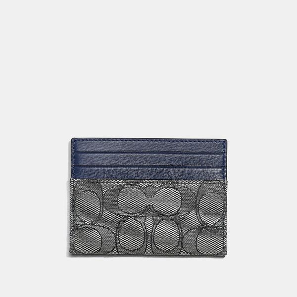 Card Case In Signature Jacquard, B4/NAVY MIDNIGHT NAVY, hi-res