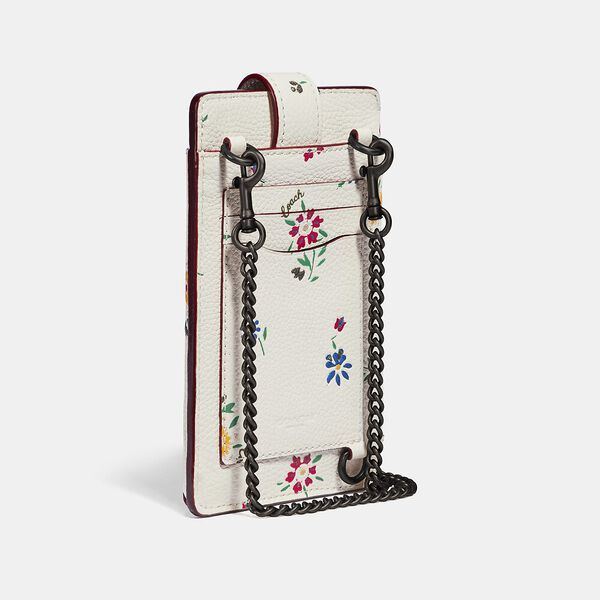 Turnlock Chain Phone Crossbody With Wildflower Print, V5/CHALK, hi-res