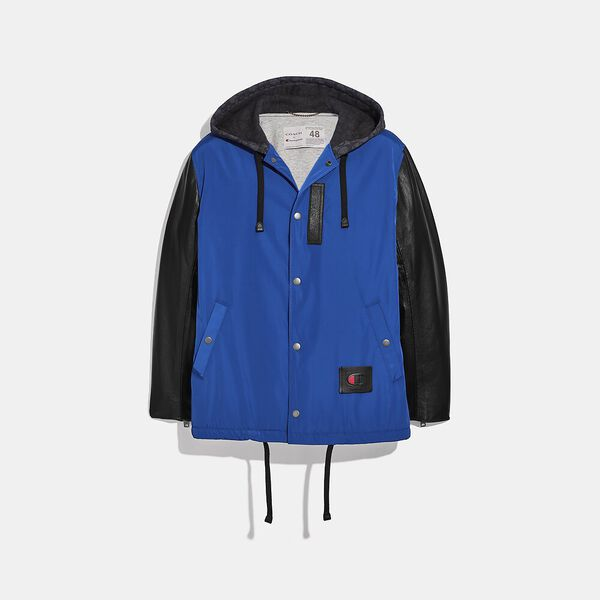 Coach X Champion Coaches Jacket, BLUE/BLACK, hi-res