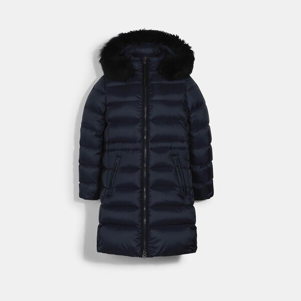 Long Slim Puffer With Shearling, NAVY, hi-res