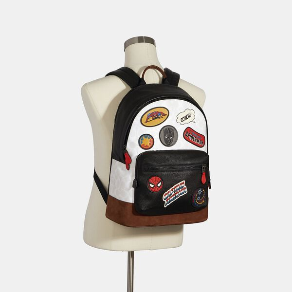 Coach x Marvel West Backpack In Signature Canvas With Patches, QB/CHALK MULTI, hi-res