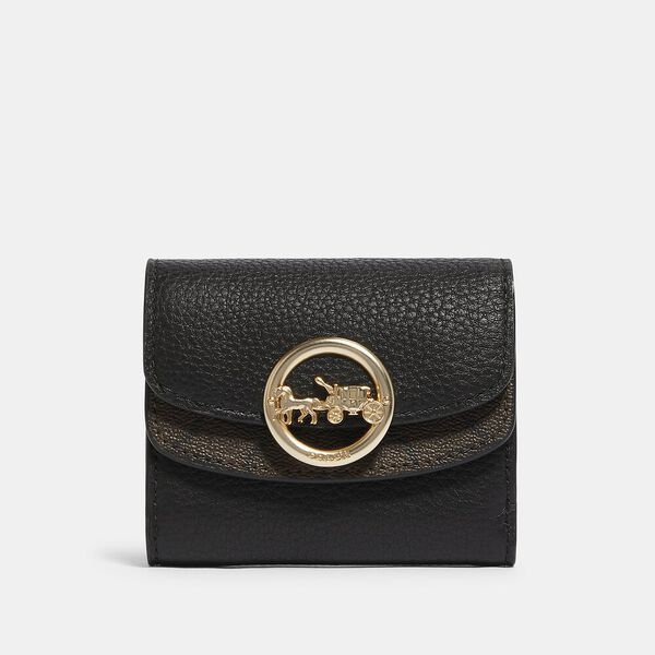 Jade Small Double Flap Wallet With Signature Canvas Detail