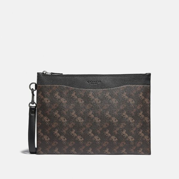 Hitch Pouch With Horse And Carriage Print, TRUFFLE, hi-res
