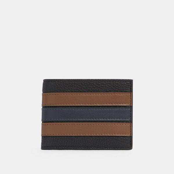 Slim Billfold Wallet With Varsity Stripe, QB/BLACK SADDLE/MIDNIGHT, hi-res