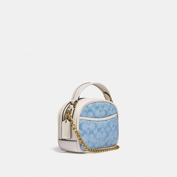 Lunchbox Top Handle In Signature Chambray With Quilting, B4/LIGHT WASHED DENIM CHALK, hi-res