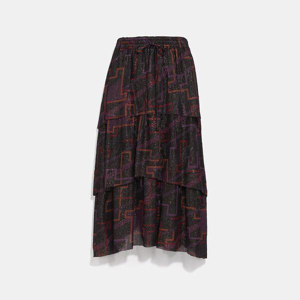Tiered Midi Skirt, BLACK, hi-res