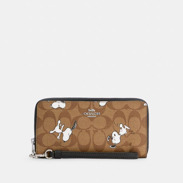 Coach X Peanuts Long Zip Around Wallet In Signature Canvas With Snoopy Print