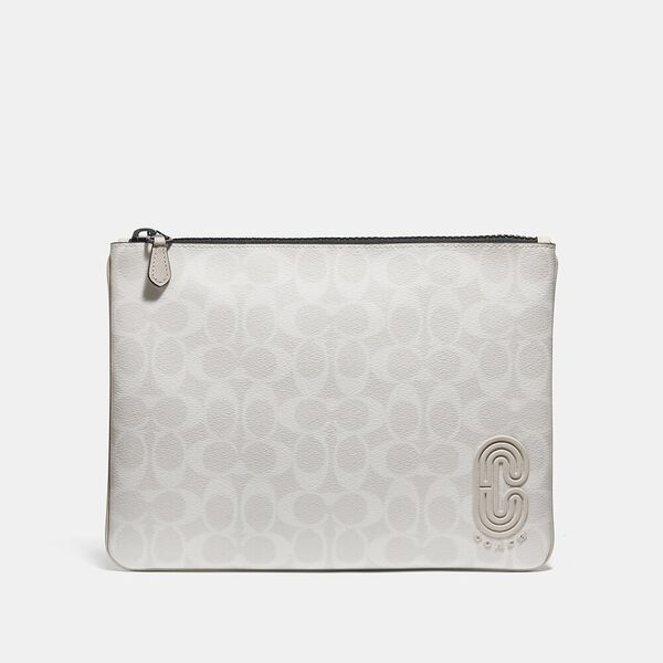 Large Pouch In Signature Canvas With Coach Patch, QB/CHALK STEAM, hi-res