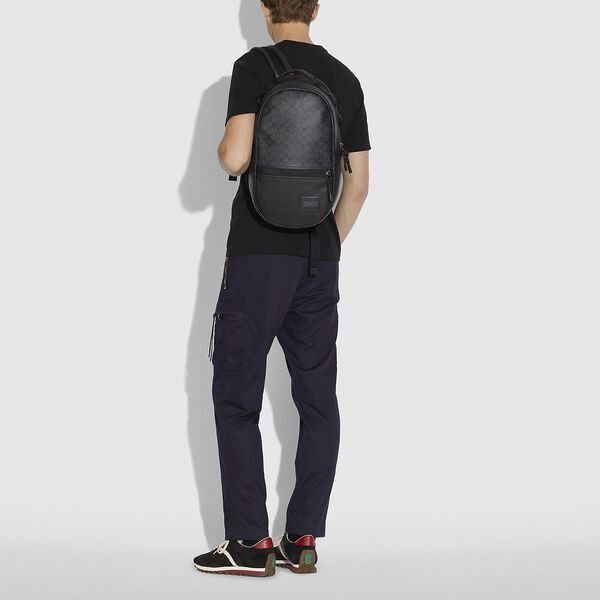 Pacer Backpack In Signature Canvas With Coach Patch, JI/CHARCOAL, hi-res