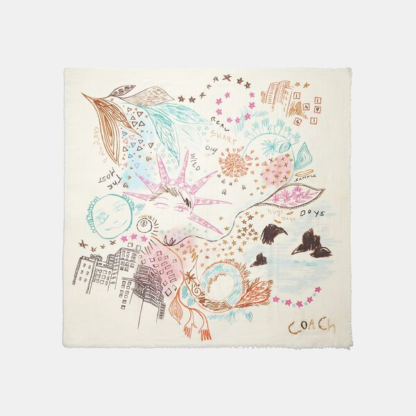 Embroidered Dream Doodle Print Oversized Square Scarf, CHALK/PINK, hi-res