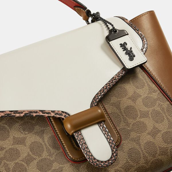 Courier Carryall In Colorblock Signature Canvas With Snakeskin Detail, V5/TAN CHALK MULTI, hi-res