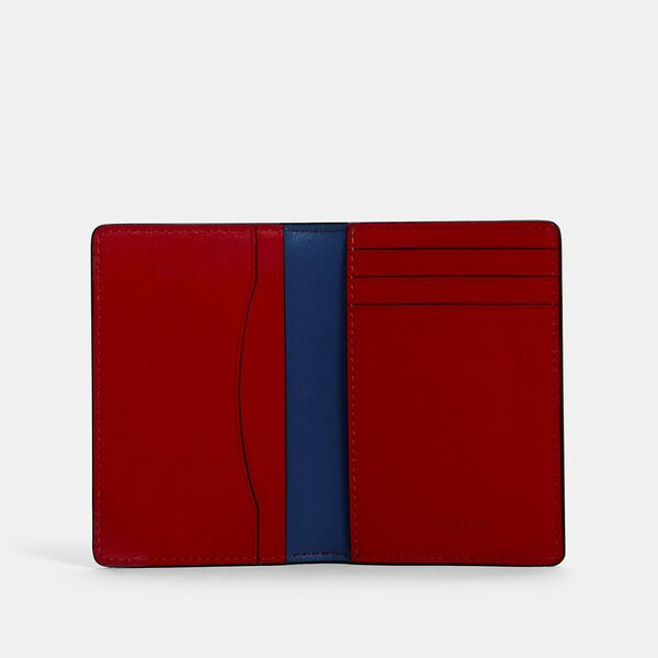 Card Wallet In Colorblock Signature Canvas With Coach Patch, QB/CHARCOAL/ BLUE JAY MULTI, hi-res