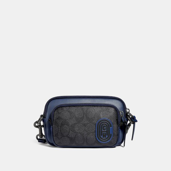 Pacer Convertible Double Pouch In Colorblock Signature Canvas With Coach Patch, CHARCOAL/DEEP SKY, hi-res