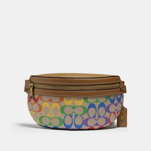 Bethany Belt Bag In Rainbow Signature Canvas, B4/TAN PENNY MULTI, hi-res