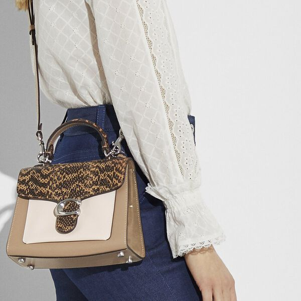 Tabby Top Handle 20 In Colorblock With Snakeskin Detail, LH/TAUPE MULTI, hi-res