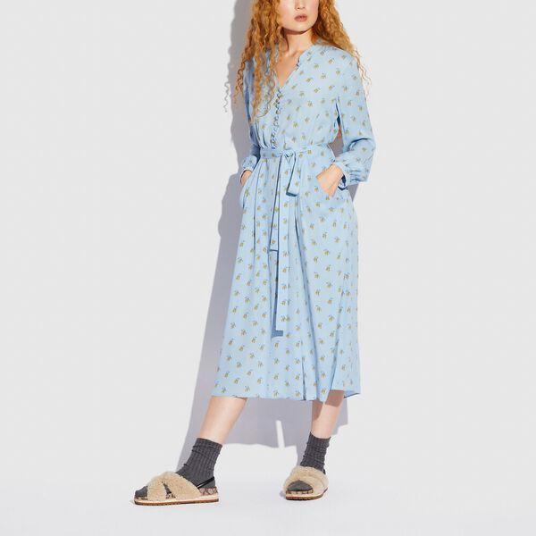 Printed Long Sleeve Dress, BLUE/YELLOW, hi-res