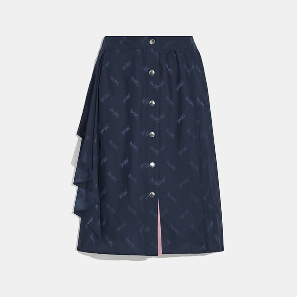 Jacquard Skirt With Front Drape