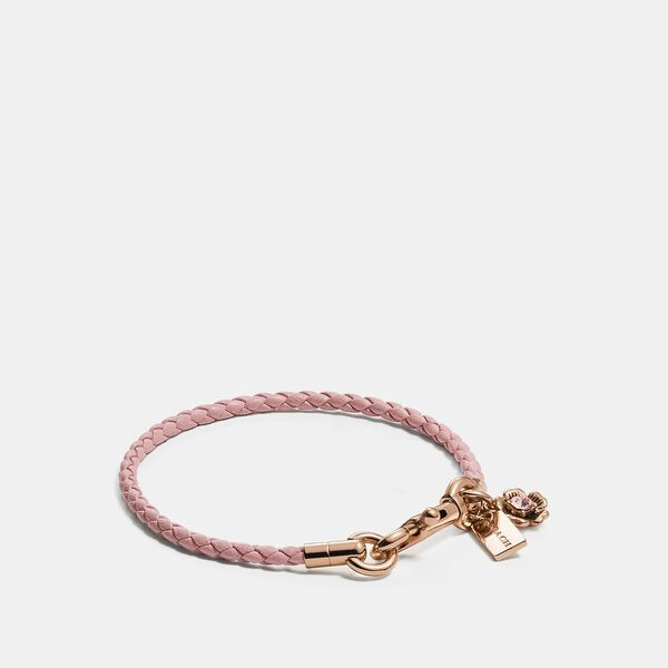 Braided Friendship Bracelet With Tea Rose Charm, RS/BLOSSOM, hi-res