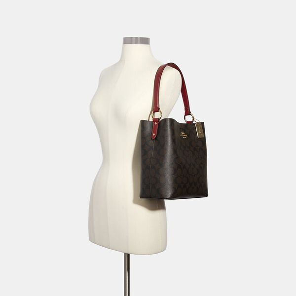 Town Bucket Bag In Signature Canvas, IM/BROWN 1941 RED, hi-res