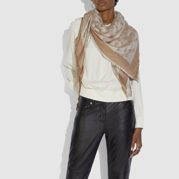 Horse And Carriage Jacquard Oversized Square Scarf, CAMEL, hi-res