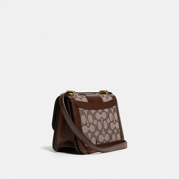 Alie Shoulder Bag 18 In Signature Jacquard With Snakeskin Detail, B4/OAK MAPLE, hi-res