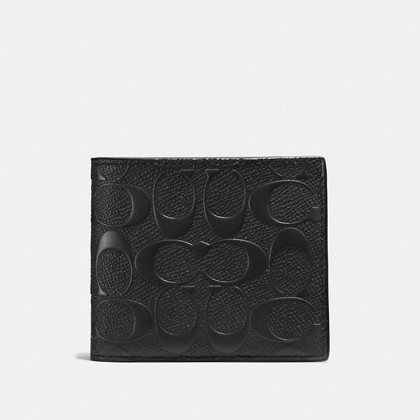 3-In-1 Wallet In Signature Leather, BLACK, hi-res