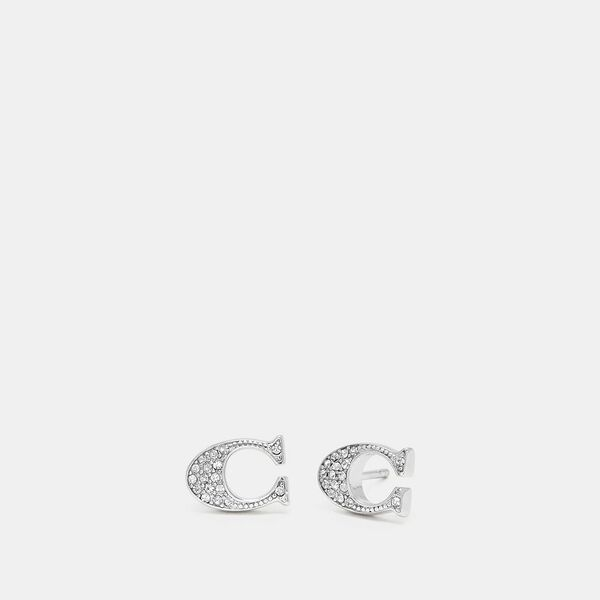 Signature Stud Earrings, SILVER, hi-res