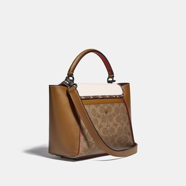 Courier Carryall 23 In Colorblock Signature Canvas With Snakeskin Detail, V5/TAN CHALK MULTI, hi-res