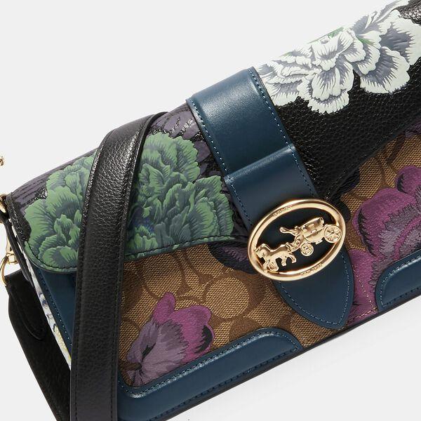 Georgie Shoulder Bag In Signature Canvas With Kaffe Fassett Print, IM/BLACK GREEN MULTI/KHAKI, hi-res