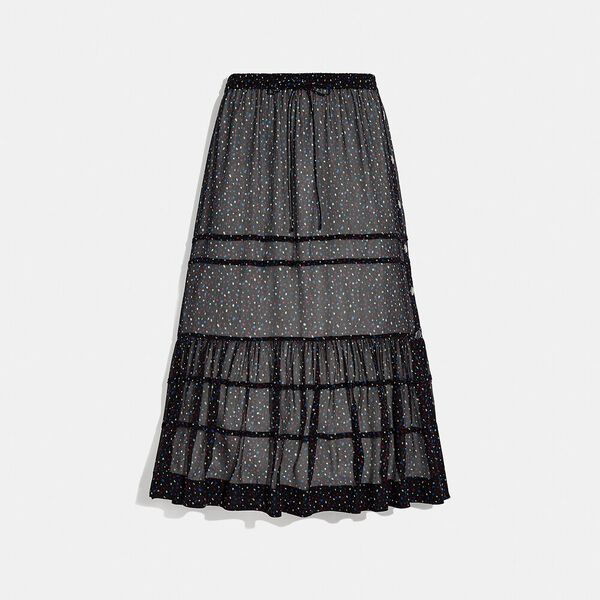 Tiered Skirt With Snaps, BLACK/BLUE, hi-res