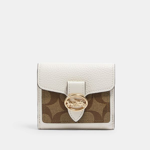 Georgie Small Wallet In Signature Canvas, IM/KHAKI/CHALK, hi-res