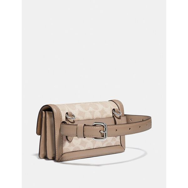 Riley Convertible Belt Bag In Colorblock Signature Canvas, LH/SAND TAUPE, hi-res