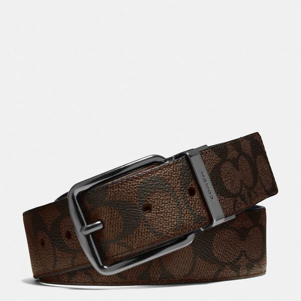 Wide Harness Cut-To-Size Reversible Belt In Signature Canvas, MAHOGANY, hi-res