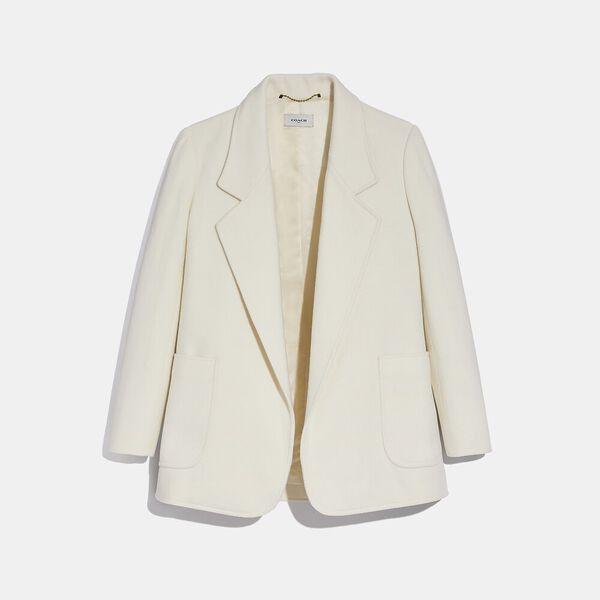 Open Front Wool Blazer, CREAM, hi-res