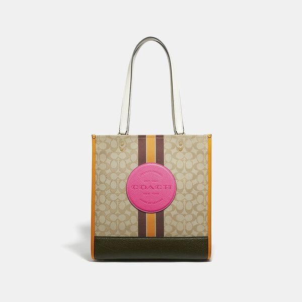 Dempsey Tote In Signature Jacquard With Stripe And Coach Patch, IM/LT KHAKI ELECTRIC PINK, hi-res