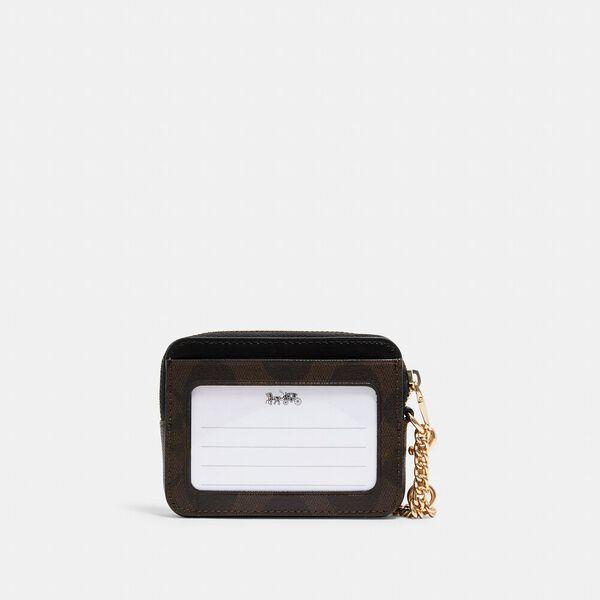 Zip Card Case In Signature Canvas, IM/BROWN BLACK, hi-res