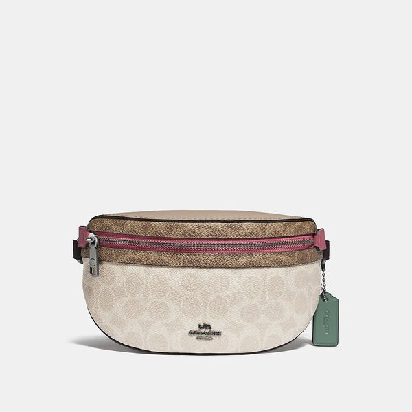 Bethany Belt Bag In Blocked Signature Canvas, LH/TAN SAND ORCHID, hi-res