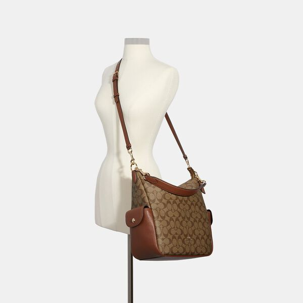 Pennie Shoulder Bag In Signature Canvas, IM/KHAKI REDWOOD, hi-res