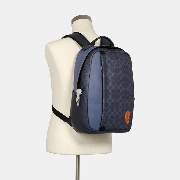 Edge Backpack In Colorblock Signature Canvas, QB/DENIM BLUE MIST, hi-res