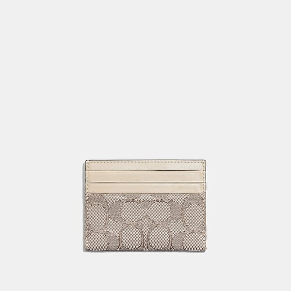 Card Case In Signature Jacquard, B4/STONE IVORY, hi-res