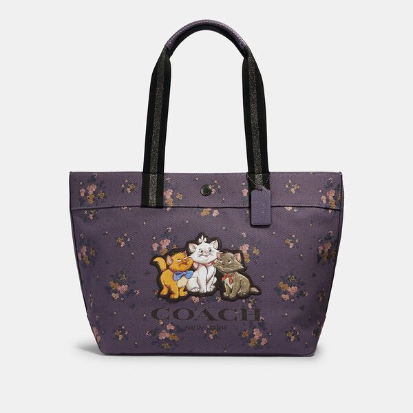 Disney X Coach Tote With Rose Bouquet Print And Aristocats, QB/DUSTY LAVENDER MULTI, hi-res
