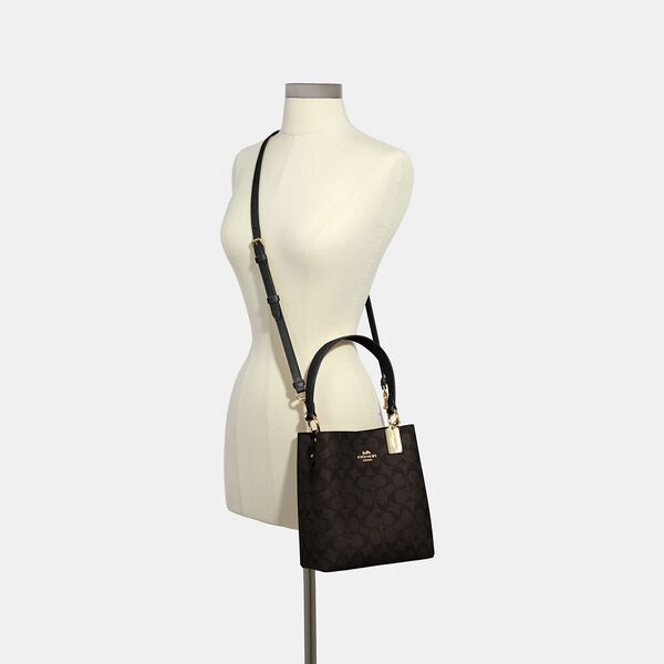 Small Town Bucket Bag In Signature Canvas, IM/BROWN/BLACK, hi-res