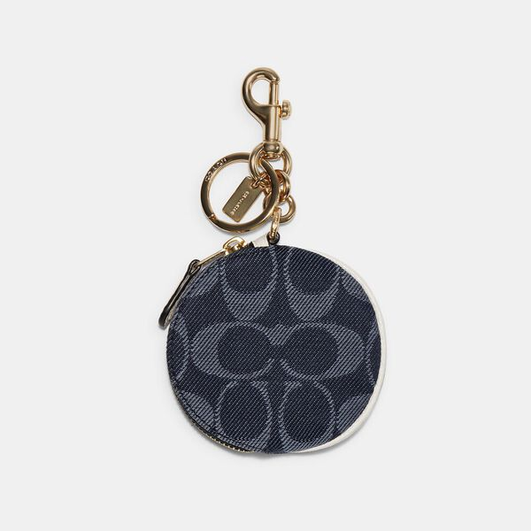 Circular Pouch Bag Charm In Signature Jacquard