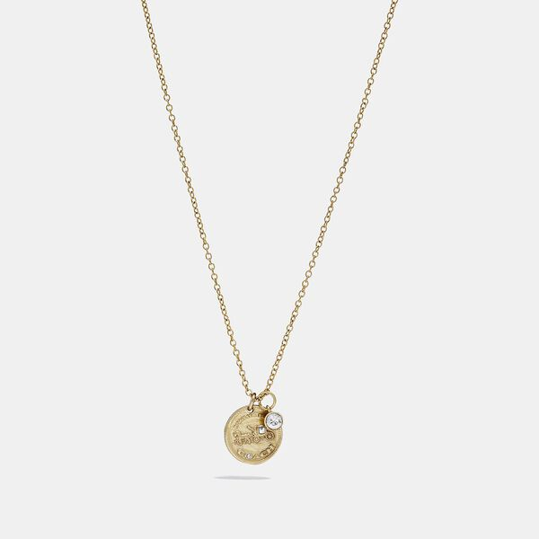 Horse And Carriage Single Coin Necklace, GOLD, hi-res