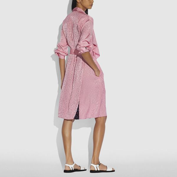 Abstract Jacquard Drape Belted Dress, Pink, hi-res